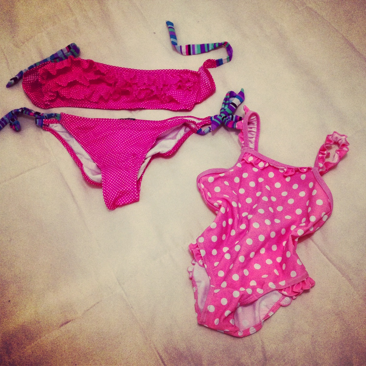 polka dots bikini for mom and daughter