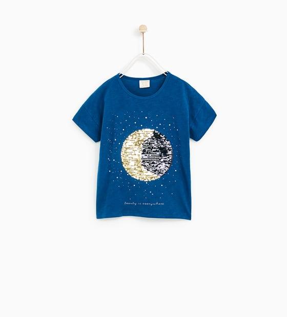 Maglietta con paillettes saldi Zara